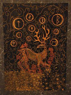magic, god, celtic knots, nature, celtic pagan, art, runes, stag, deer