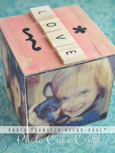 LOVE Photo Transfer Decou-Page Instagram Photo Cube Craft with type