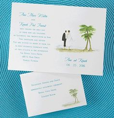 Beach Destination Wedding Invitation.