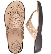 "$19.99  sizes 6M-11M. Leatherlike upper. Patterned footbed. 1"" H heel. Half sizes, order one size up."