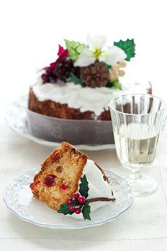 Gorgeously decorated Christmas Fruitcake. #cake #dessert #fruitcake #baking #food #decorated