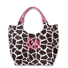 Monogrammed Animal Print Large Tote ~ Giraffe or Zebra TinyTulip.com We're All About Personalization - Gifts Monogram Embriodery