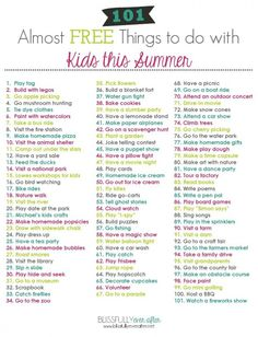101 Almost FREE Things to do with Kids this Summer! FREE printable download