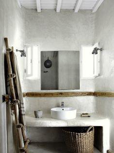 San Giorgio Mykonos Hotel Bathroom in Greece. Simplicity, White, Style, Bohemian, Basket.