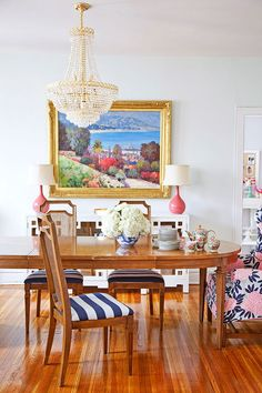 dining rooms, home colors, dine room, pattern, dining chairs, hous, armchairs, stripe, canes