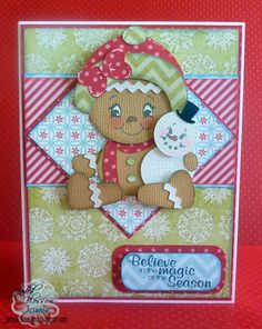 Gingerbread Girl Christmas Card made with Jaded Blossom stamps.
