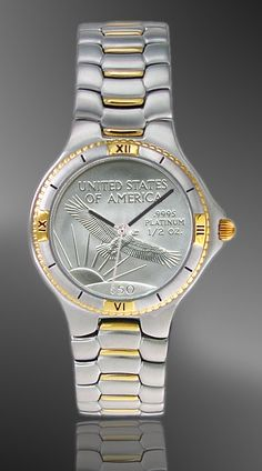 Platinum Eagle Coin Watch. Dial is a genuine platinum US coin.