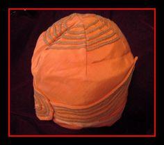1920's Flapper Helmet Cloche Apricot Faille Gold Bullion & Silk Ribbon Trim