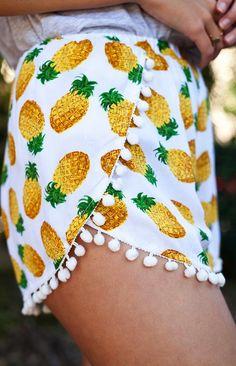 fashion, pineapple shorts, cloth, shorts with pom poms, dress, beauti, closet, pineappl short, pj shorts