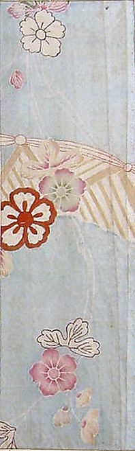 ieces from a Kosode with Flowers, Vines, and Garden Fence  Period: Edo period (1615–1868) Culture: Japan Medium: Resist dyed and painted float-patterned plain-weave silk (saya), embroidered with silk and metallic thread Dimensions: Sight (.19): 11 5/16 x 3 7/16 in. (28.7 x 8.7 cm) Sight (.21): 11 5/16 x 3 in. (28.7 x 7.6 cm) Classification: Textiles-Dyed and Embroidered