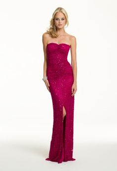Prom Dresses 2013 - Long Strapless All Beaded Mesh Dress from Camille La Vie and Group USA