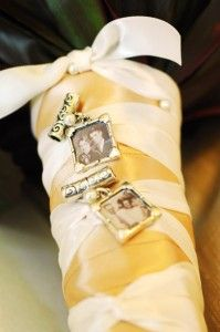 BOUQUET WRAP: photo charms #parents_wedding_picture_bouquet_wrap #grandparent_wedding_picture_wrap