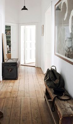 interior design, wooden benches, vintage trunks, hallways, floors, white walls, hous, flooring, entryway
