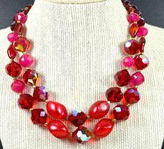 Vintage Hattie Carnegie Signed Necklace 2 Strand Red Choker