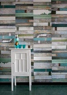 Love this scrap wood wall.
