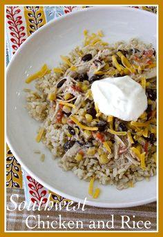 Southwest Chicken and Rice is a simple crock-pot recipe that's perfect a for fall supper! by whatscookingwithruthie.com #recipes #chicken #crockpot