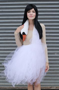 A DIY Bjork swan dress makes for an unforgettable Halloween look.