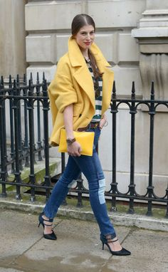 Bright coat, big city: Blogger Wendy Gilmour at London Fashion Week