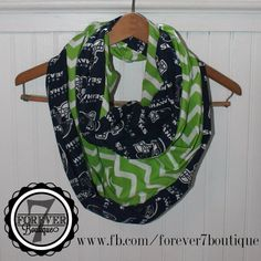 NFL Seattle Seahawks Chevron Infinity Scarf, Double Sided, Extra Long, HANDMADE 100% Cotton