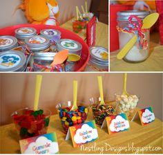 birthday parties, bear parti, carebear, care bears, ice cream bars, mason jars, parti reveal, care bear party, ice cream bar for kids