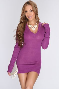 Theres nothing we love more than a super cute sweater dress! Step out in style this fall with this trendy, sexy sweater dress! Pair ith with your favorite thigh high boots and accessories for a complete look! It features knitted, v neck, long sleeves, and tight fitted. 100% Acrylic.