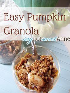 Pumpkin Pie Granola [Recipe] on http://saynotsweetanne.com