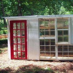 {DIY Greenhouse} made from {repurposed} doors & windows!