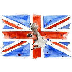 British flag painting, Vintage UK flag wall art, Great britain,... ❤ liked on Polyvore
