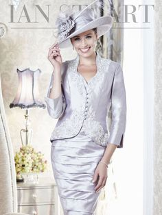 Ian Stuart Silk Dupion Dress and Jacket Grey Pearl or Pink Two Piece Mother of the Bride Outfit Style ISL469