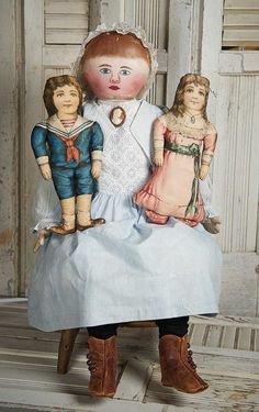 """Theriault's - 25"""" Very Fine American Oil-Painted Cloth Doll"""
