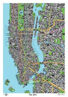 Hand-drawn map of New York City (Jenni Sparks)
