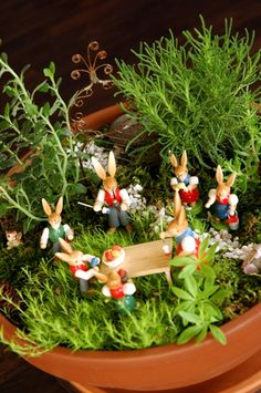 Easter bunnies in a fairy garden