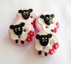 Little sheep buttons polymer clay handmade buttons set by ayarina