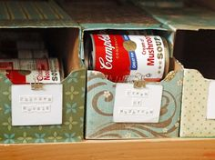 "Old soda boxes for soup cans...Click on the image for more information on ""DIY Kitchen Pantry Organization"" by Kitchen Bath Trends"