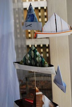 Boat mobile from recycled paper