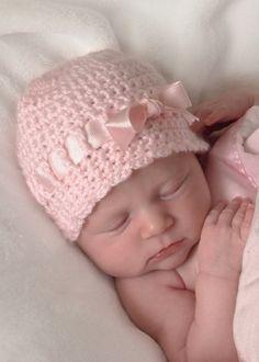 Newborn Hat Baby Girl Bow Crochet Baby Hat Baby by BabyGraceHats, $24.00