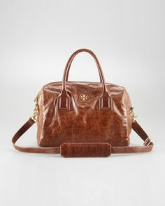 City Leather Satchel Bag by Tory Burch