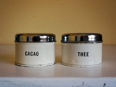 vintage Dutch canister set, tea and cacao cream – available at AtticAntics on Etsy