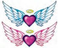 Glitter Angel Wings Tattoos