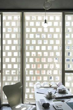 facade of patterned concrete blocks