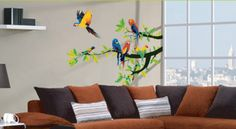 Parrots Wall Decal; $35, for c's room!  Really cool website for all kinds of posters and moveable decal/mural art.  Many at reasonable prices.