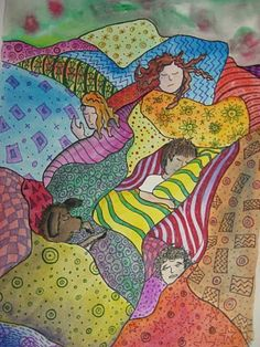 Gustav Klimt, Crazy Quilt, watercolor, pattern, organic shapes, lines, repetition.