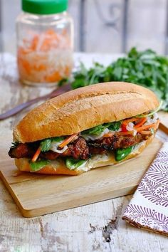 Banh Mi with Lemongrass Pork: This popular Vietnamese-style sandwich can be made with a variety of meat choices—from steamed, pan-fried, to grilled options. You can find this delicious sandwich at street venders in Vietnam.