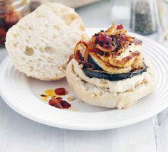 Halloumi aubergine burgers with harissa relish