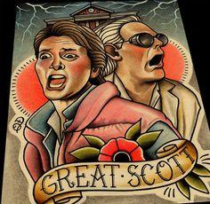 Great Scott Back to the Future Art Print by ParlorTattooPrints