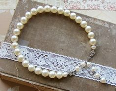 Vintage Ivory Faux Pearl Necklace with Art Deco by Alyssabeths, $16.85