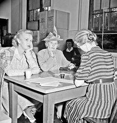 Applicants for sugar rationing cards. Adams School, Washington, DC, 1942