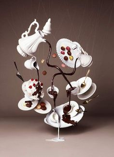 This gourmet chocolate masterpiece is the work of NAM, a Tokyo-based collective of art firms known for creating images were people and objects defy gravity. What's amazing is that the pictures were taken without using Photoshop, with the illusion of floating chocolate created by using clear strings and cables with models suspended in harnesses.