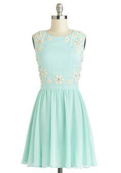 Fashionably Afloat Dress - Mid-length, Chiffon, Woven, Tan / Cream, Flower, Rhinestones, Party, A-line, Sleeveless, Better, Blue, Crochet, Pastel, Gifts Sale