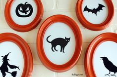Halloween Silhouettte printables: Frame with thrift store frames or spray paint cheap ones from a craft store